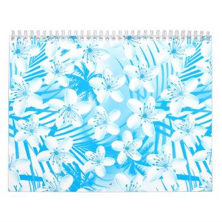 Blue tropical palm trees calendar
