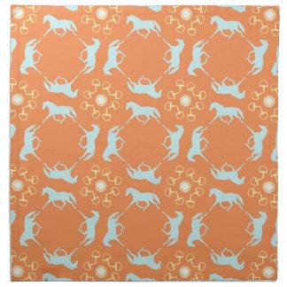 Blue Trotting Horses and Bits Pattern Cloth Napkin