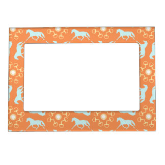 Blue Trotting Horses and Bits Pattern Magnetic Photo Frame