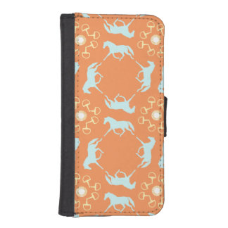 Blue Trotting Horses and Bits Pattern iPhone 5 Wallet Cases