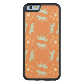 Blue Trotting Horses and Bits Pattern Carved® Maple iPhone 6 Bumper Case