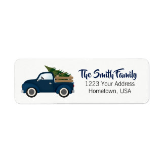 Blue Truck Christmas Tree Return Address Label