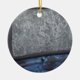 Blue Truck fosted window Ceramic Ornament
