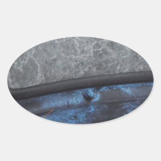Blue Truck fosted window Oval Sticker