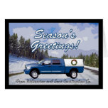 Blue Truck Logo Contractor Christmas Greeting Card