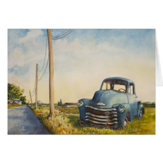 Blue Truck, North Fork, Blank Card