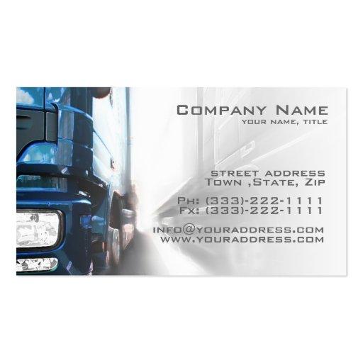 Blue truck transportation logistics card business card for Trucking business card