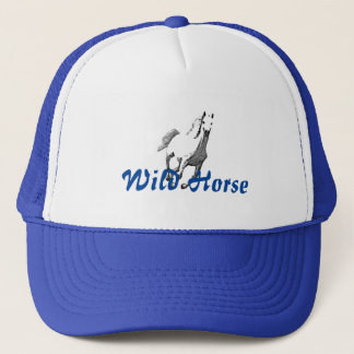 Blue Trucker Hat & Wild Horse Drawing