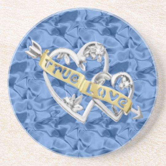 Blue True Love Joined Hearts Coaster