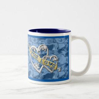 Blue True Love Joined Hearts Mug