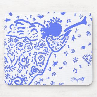 blue trumpet angel mousepad