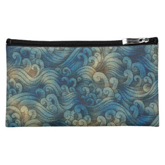 Blue Tsunami Ocean Tidal Waves Aged Water Color Cosmetic Bag