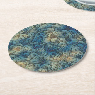 Blue Tsunami Ocean Tidal Waves Aged Water Color Round Paper Coaster