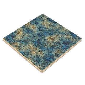 Blue Tsunami Ocean Tidal Waves Aged Water Color Wooden Coaster
