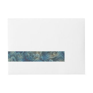 Blue Tsunami Ocean Tidal Waves Aged Water Color Wrap Around Address Label
