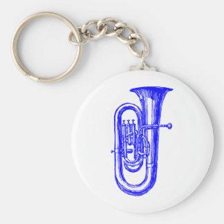 Blue Tuba Basic Round Button Keychain
