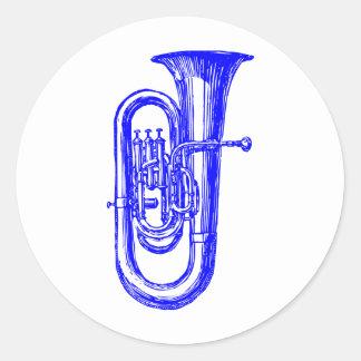 Blue Tuba Classic Round Sticker