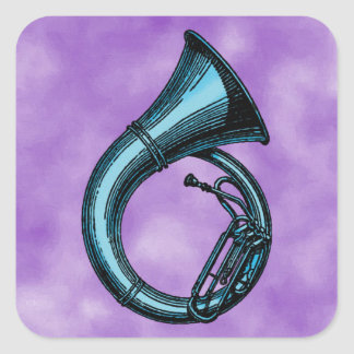Blue Tuba Painting Square Sticker