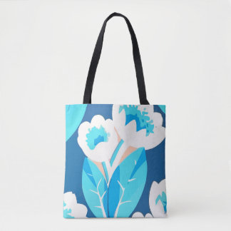 Blue Tulip Flowers Abstract Art Tote Bag