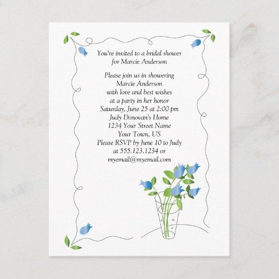 Blue Tulip Flowers Bridal Shower Invite