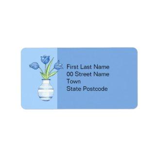 Blue Tulips blue Address Label label