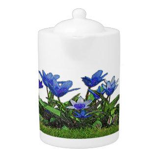 Blue Tulips Design Teapot