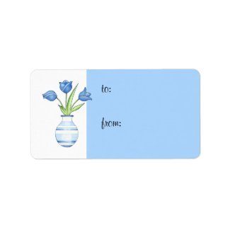 Blue Tulips Gift Tag label
