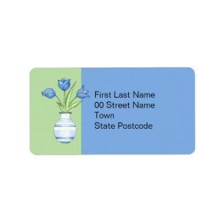 Blue Tulips green Address Label label