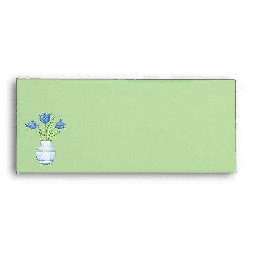 Blue Tulips green Letterhead Envelope