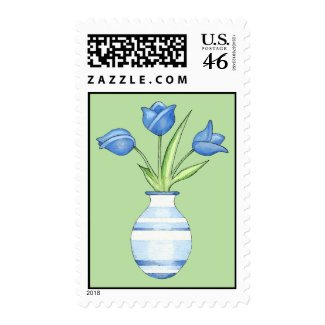 Blue Tulips green Stamp stamp