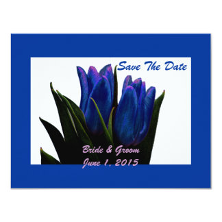 Blue Tulips Save The Date Cards