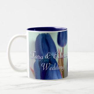 Blue Tulips Two-Tone Coffee Mug