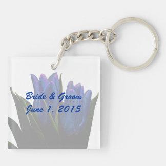 Blue Tulips Wedding Keychain
