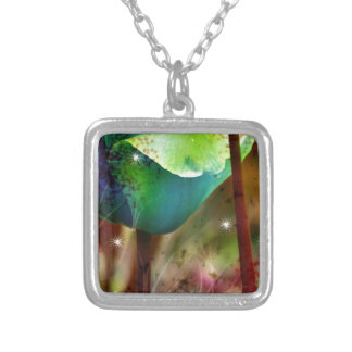 BLUE TULIPS with Brush effect Square Pendant Necklace