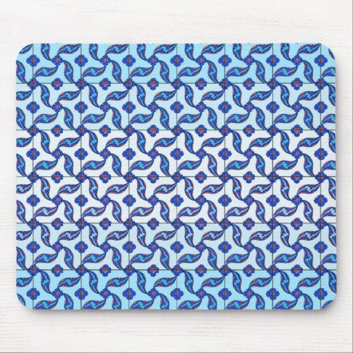 Blue Turkish Iznik Tile Pattern Mouse Pads