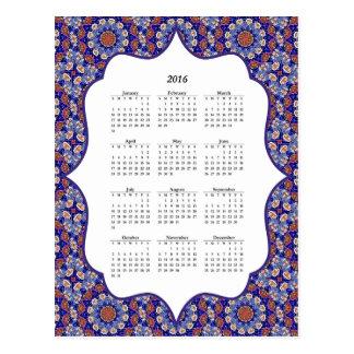 Blue Turkish Tile Pattern 2016 Calendar Postcard