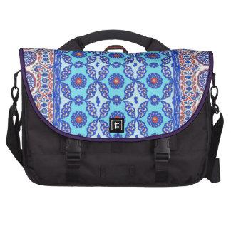 Blue Turkish Tile Pattern Iznik Design Laptop Messenger Bag