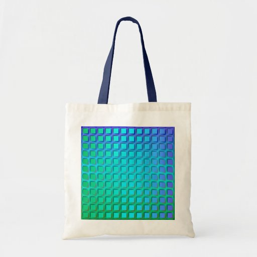Blue Turquoise and Green Squares Pattern Canvas Bag