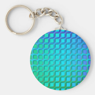Blue Turquoise and Green Squares Pattern Basic Round Button Keychain