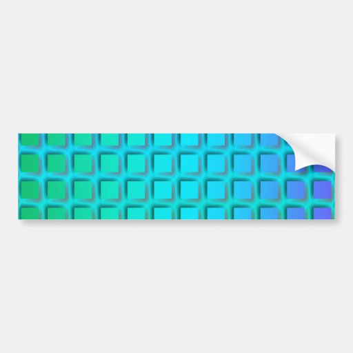 Blue Turquoise and Green Squares Pattern Car Bumper Sticker