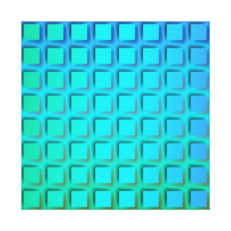 Blue Turquoise and Green Squares Pattern Canvas Print