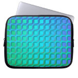 Blue Turquoise and Green Squares Pattern Laptop Computer Sleeve
