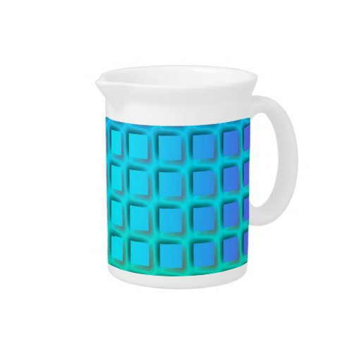 Blue Turquoise and Green Squares Pattern Pitcher