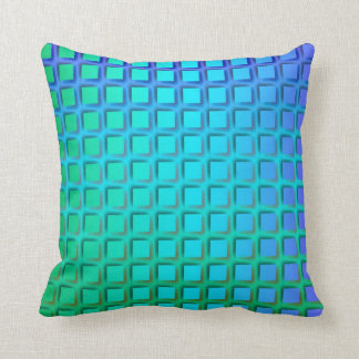 Blue Turquoise and Green Squares Pattern Throw Pillow