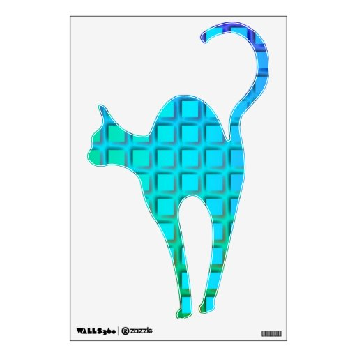 Blue Turquoise and Green Squares Pattern Wall Sticker