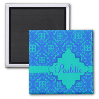Blue & Turquoise Arabesque Moroccan Graphic 2 Inch Square Magnet
