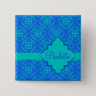 Blue & Turquoise Arabesque Moroccan Graphic Button