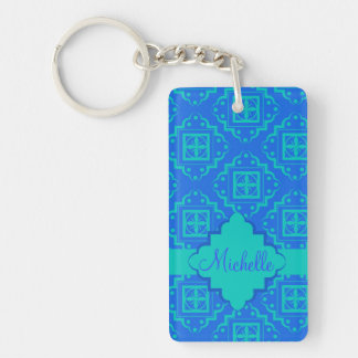 Blue & Turquoise Arabesque Moroccan Graphic Double-Sided Rectangular Acrylic Keychain