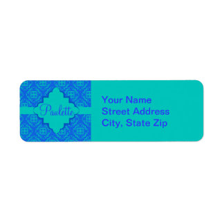 Blue & Turquoise Arabesque Moroccan Graphic Label