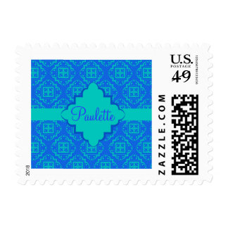Blue & Turquoise Arabesque Moroccan Graphic Postage Stamp